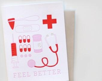 Letterpress Card - Feel Better, Get Well Soon