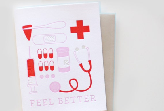 Letterpress Card - Feel Better, Get Well Soon
