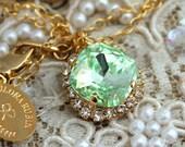 Mint Crystal Necklace, Bridal Mint Necklace, Bridesmaids Crystal Necklace Bridesmaids Gifts Gift for Woman,Mint Swarovski Crystal Necklace