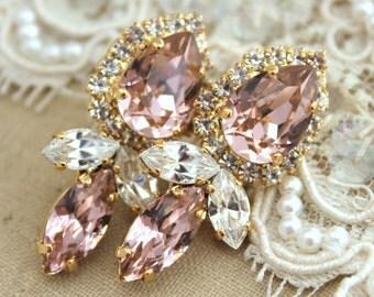 Pink Blush Statement Earrings,Swarovski Blush Pink teardrop Earrings,Light peach Earrings,Bridal Long Crystal Earrings,Bridesmaids Earrings