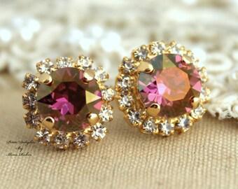 Purple violet Rhinestone stud Golden Autumn swarovski Crystal,christmas gift  - 14k plated gold post earrings real swarovski rhinestones.