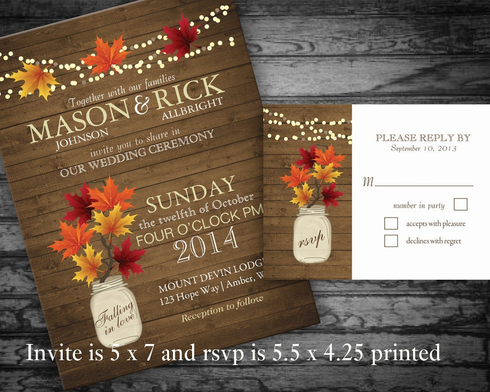 Rustic Fall Wedding Invitations Mason Jar by NotedOccasions