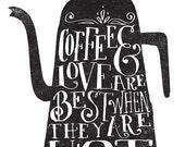 Coffee & Love Printable Art Print - 8x10