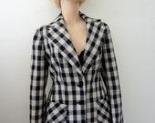 1970s Wool Jacket equestrian style bold check blazer - collegiate vintage fashion