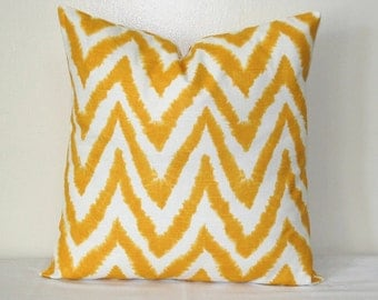 Yellow Chevron, Zigzag Flamestitch Pillow, 18 x 18  or 20 x 20 inch Cushion Cover