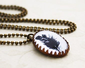 Petite Oval Feather Necklace - Brass and Glass