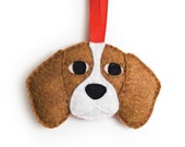 Beagle Ornament by Sklep on Etsy, Felt Holiday Home Decor Gift Dog Pet Memorial Personalized
