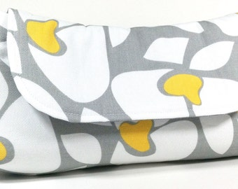 Clutch Purse - Grey Yellow and White Flowers Fold Over Clutch, Wedding Clutch, Bridesmaids Clutch