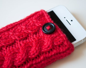 Poppy Red Double Cable Knit Phone Case (iPhone 3/4/4S/5/5S/5C/6/6+/7/7+)