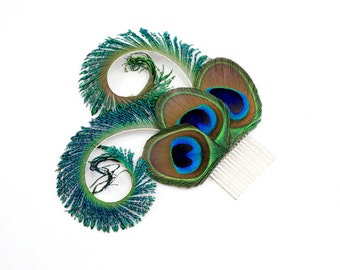 Optimistic - Peacock bridal hair accessory  /Peacock feather fascinator / Peacock feather hair clip or comb