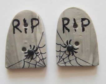 Button Twin Tombstones Headstones handmade polymer clay buttons ( 2 )