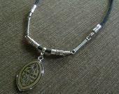 Men's Guam Seal Charm Pendant Black Leather Necklace