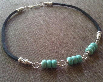 Men's Turquoise Howlite Stone Beaded Leather Chain Necklace