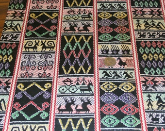 Pretty Antique Black and Primary Colors, Cotton Fabric Yardage, Geometric Designs 36 Inch Width by the yard