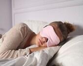 Pale Pink + Parisian Stripes Cotton Knit Sleeping Mask