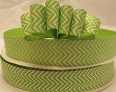5 Yds. WHOLESALE 7/8 Inch Lime & White Chevron grosgrain ribbon LOW SHIPPING Cost