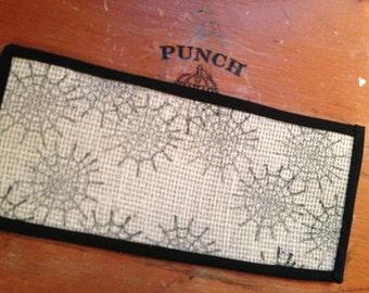 Black Spider Web Sisal Rug - Dollhouse Size - 4 x 8 inch