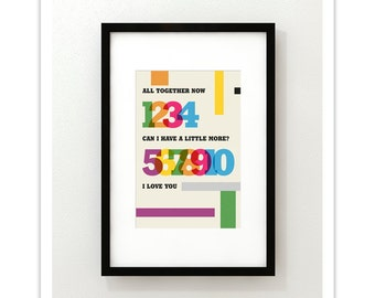 All Together Now - The Beatles - Typography Retro Mid Century Modern Style Print