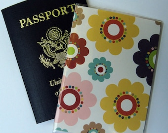 Passport Cover Case Holder in Multi-Colored Flowers