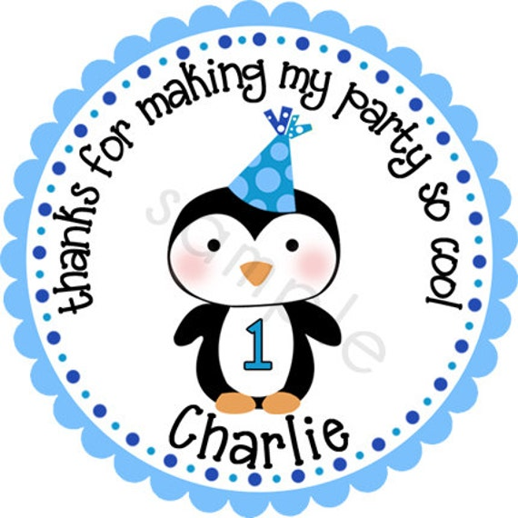 Winter ONEderland Birthday Penguin Blues Personalized Stickers - Party Favor Labels, Address Labels - Choice of Size and Colors
