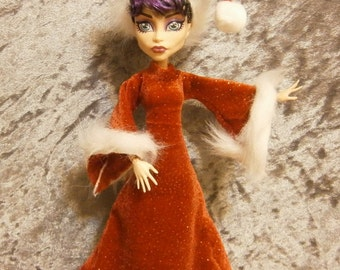 Long sparkly red santa  outfit  for Monster and ever after dolls