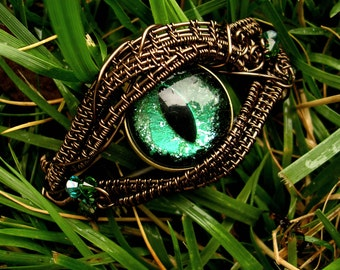 SOLD - Steampunk Gothic GLOW - Bracelet - Dragon Evil Eye - Cat Eye - Green Forest Black Bronze Brass - One of a kind - Swarovski Crystals