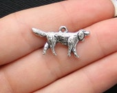 8 Dog Charms Antique  Silver Tone - SC1554