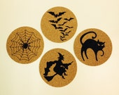 Halloween Cork Coasters - Set of 4