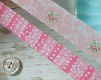 Pink roses Washi Tape  - ONE METRE only  - floral washi tape - pink washi tape - Embellishments - lavendar washi tape
