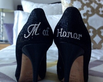Will You Be My Maid of Honor Gift – Rhinestone Crystal Stickers for Back of Wedding Shoes