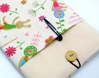 READY to ship - BIG Sale - RM iPad mini retina sleeve, kindle, with a front pocket, padded - Bunny (K158)