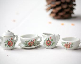 Vintage miniature porcelain tea set mid century floral for Set petit dejeuner porcelaine