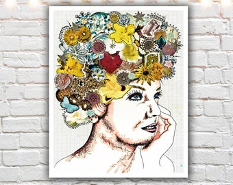 bohemian art - mixed media collage illustration - flowers in her hair - boho decor