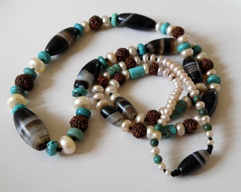 Beaded Sardonyx gemstone necklace with Turquoise holy Rudraksh seeds and white freshwater pearls Tribal jewelry ooak