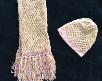 Pink and Beige Hat and Scarf Set.