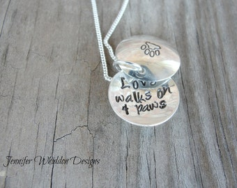 Love Walks On Four Paws - Dog Necklace- Sterling Silver Locket