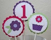 Cupcake toppers - cupcake theme cake picks, age customized, set of 12