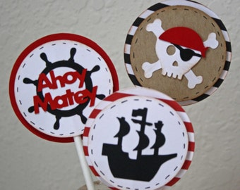 Pirate cupcake toppers - pirate birthday cake picks, skull, pirate ship, set of 12