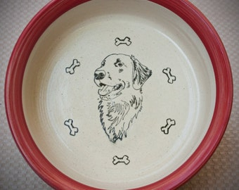 Flat-Coated Retriever - Bowl in Red (Large)