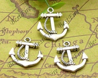 12PCS Of  20x23MM Antique Silver Charm Pendant,metal finding,pendant beads,jewelry findings,Connectors Bracelet,anchor
