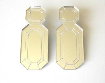 Silver Mirror Emerald Shape Statement Earrings - Laser Cut Acrylic Perspex