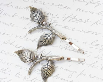 Branch Bobby Pins Silver Leaf  Bobbies Woodland Wedding Pair of Leaves Unique bridal Hair Accessories Bridesmaids Gift Beach Hair