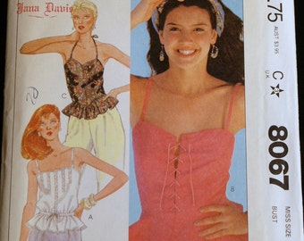 McCalls 8067 Misses Camisoles Vintage Sewing Pattern Size 12