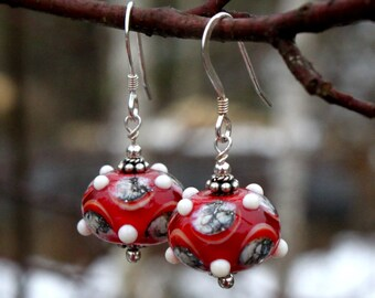 Bright Red Glass Earrings with Dots, Dangle, Sterling Silver, Lampwork Jewelry, Glass, Dangle Earrings, Glass Jewelry,