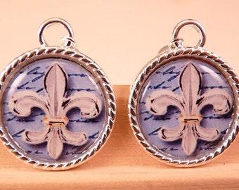 Tile Earrings Fleur de Lis Earrings Tile Jewelry Fleur de Lis Jewelry Black and White Beaded Jewelry