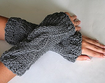Knit Fingerless Gloves, Wrist Warmers, Arm Warmer, Long Fingerless Gloves Mitten