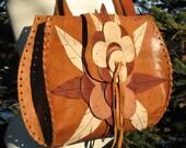 1970s ViNTaGe Leather Bag Hand Tooled Leather Purse Shoulder Bag/Hand/ Tote Bag