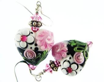 Heart Lampwork Earrings, Glass Bead Drop Earrings, Heart Earrings, Pink White Floral Heart Earrings, Glass Bead Jewelry, Dangle Earrings