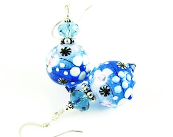 Blue White Earrings, Lampwork Earrings, Glass Bead Earrings, Dangle Earrings, Lampwork Jewelry, Beadwork Earrings, Drop Earrings