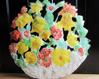 Vintage Floral Basket Metal Wall Sculpture  - Yellow, Green, Coral - Large Round Wall Art - Spring Home Decor